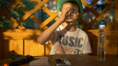 Boy drinks alcoholic drink, children's alcoholism, difficult childhood, the Stock Footage