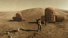 Astronauts on mars colony Stock Footage
