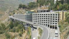 Modern multi level parking garage. Taormina, Sicily, Italy. Stock Footage