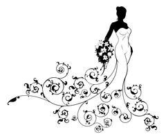 Pattern Wedding Bride Silhouette Stock Illustration