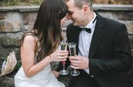 Beautiful wedding couple drinking champagne Stock Photos