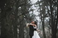 Happy bride and groom posing in the autumn forest Stock Photos