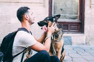 Man and dog are looking at each other Stock Photos