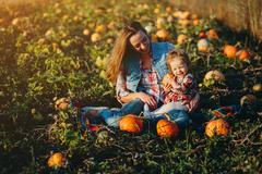Mother and daughter on a field with pumpkins Stock Photos