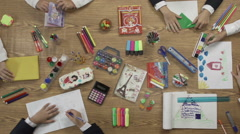 Stationery on the table top view Stock Footage
