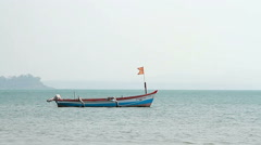 Fishing boat on the Palolem beach Stock Footage