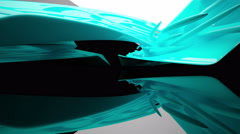 Abstract black interior with glossy turquoise sculpture. Architectural backgroun Stock Footage