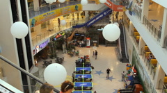 Interior of modern shopping center Stock Footage