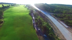 Aireal drone Golf Cart over golf track  in Los Cabos Mexico Tournament Stock Footage