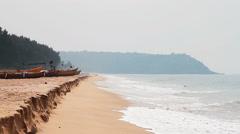 Beautiful beach in Goa with beauty sea Stock Footage