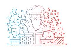 Merry Christmas - line design card Stock Illustration