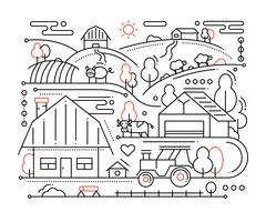 Farm - line design composition Stock Illustration