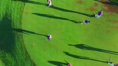 Aireal drone Golf Practice over golf track green in Los Cabos Mexico Tournament Stock Footage