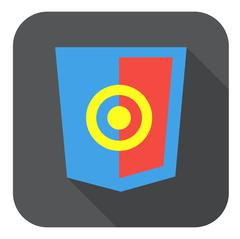 Vector web development shield sign html5 javascript aim symbol icon on grey Stock Illustration