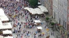 Gdansk, Poland. Crowded Long Market in the old town, view from above Stock Footage