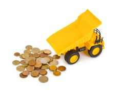 Toy car truck and money coins Kuvituskuvat