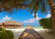 Cafe on tropical Maldives island Stock Photos