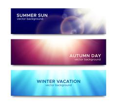 Set of horizontal banners with sun rays Piirros