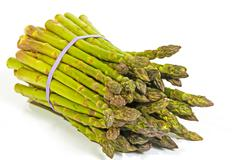 Bunch of Fresh Green Asparagus Secured with Elastic Band Stock Photos