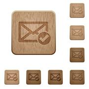 Mail read wooden buttons Stock Illustration