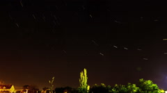 Star Trails over the Small Town Stock Footage