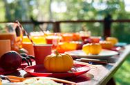 Close-up of table decorated with pumpkins and spiders Stock Photos