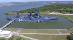 Battleship Texas Historical naval ship Stock Footage