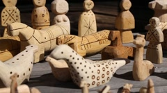 Children toys made of wood in Russia Stock Footage