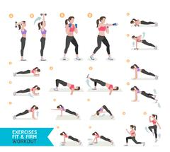 Woman workout fitness, aerobic and exercises. Vector Illustration. Stock Illustration