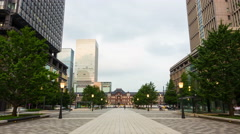 Stationary Day Night Transition Timelapse Front Entrance Tokyo Station Promenade Stock Footage