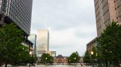 Panning Day to Night Transition Timelapse Front Facade Tokyo Station Miyuki St. Stock Footage
