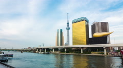 Zoom Out Daytime Timelapse Tokyo Skytree Blue Sky Sumida River Boats Asakusa Stock Footage