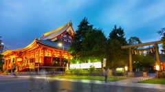 Zoom Out Day Night Timelapse Asakusa Shrine Gate Senso-Ji Temple Hondo Blue Hour Stock Footage