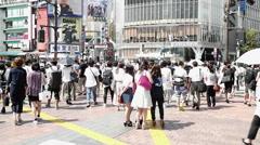 Shibuya intersection people crossing Stock Footage