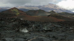Frozen lava flow resulting from eruption Flat Tolbachik in 2012 Stock Footage