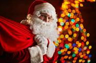 Portrait of Santa Claus with sack against firtree Stock Photos
