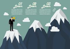 Businessman looking for mountain peak infographic Piirros