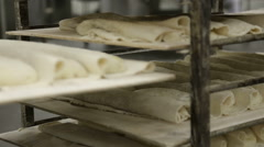Eclairs Slide Down Conveyor Line. High Standard Of Quality. Making The Best Stock Footage