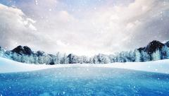 Frozen lake in winter mountain landscape at snowfall Stock Illustration