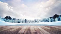 Wooden chillout terrace in winter mountain landscape Stock Illustration