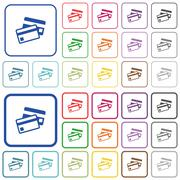 Credit cards color outlined flat icons Piirros