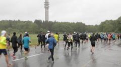 Stockholm marathon and Kaknastornet Stock Footage