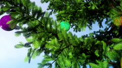 Three-dimension animation with Christmas tree and new year balls. Stock Footage