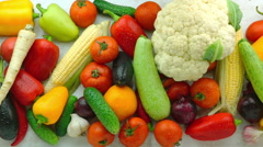 Tracking Shot of Fresh Organic Vegetables Stock Footage