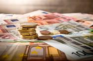 Detail of Euro currency on the desk Stock Photos