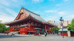 Panning Timelapse Front Corner Sensoji Temple Blue Sky Afternoon Rolling Clouds Stock Footage