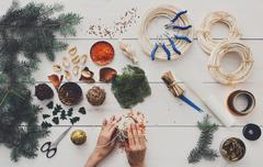 Creative diy hobby. Handmade craft christmas decoration, balls a Stock Photos