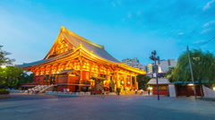 Stationary Transition Day Night Timelapse Senso-ji Temple Front Corner Tourists Stock Footage