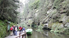 Wild Gorge lower boat landing near Hrensko, Usti nad Labem, Czech Republic Stock Footage