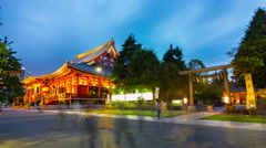 Stationary Day Night Transition Timelapse Senso-Ji Temple Hondo Asakusa Shrine Stock Footage